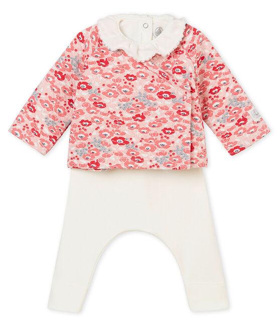 Dreiteiliges Baby MädchenEnsemble weiss Marshmallow / weiss Multico