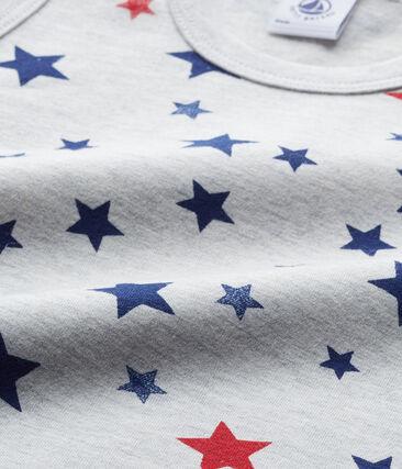 Bedrucktes Jungen-Unterhemd aus Stretch-Jersey grau Beluga / weiss Multico