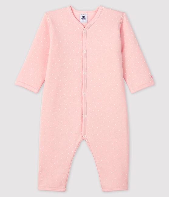 Baby-Strampler ohne Fuß aus wattiertem Rippstrick rosa Minois / weiss Marshmallow