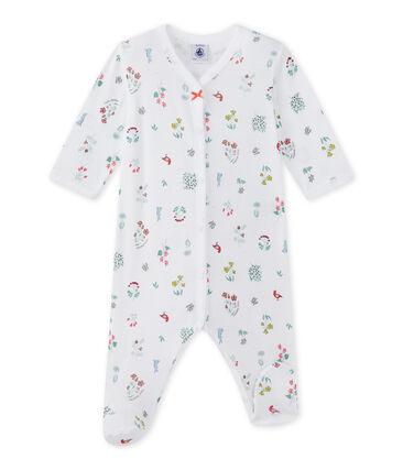 Bedruckter Baby-Mädchen-Strampler weiss Ecume / weiss Multico