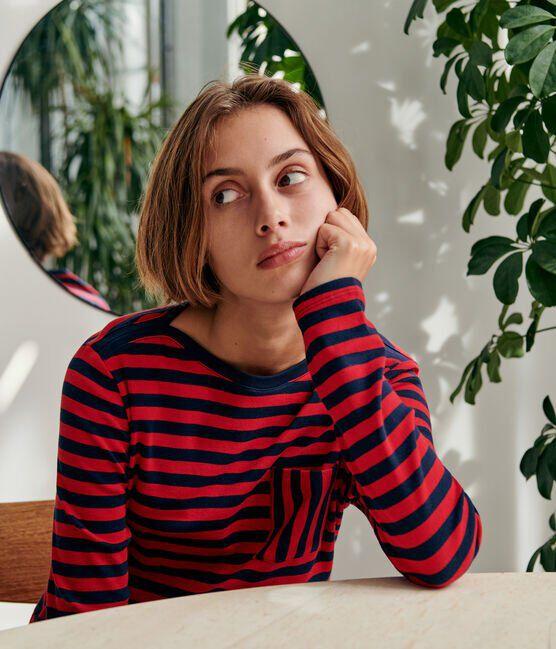 Gestreiftes Damen-T-Shirt blau Smoking / rot Terkuit