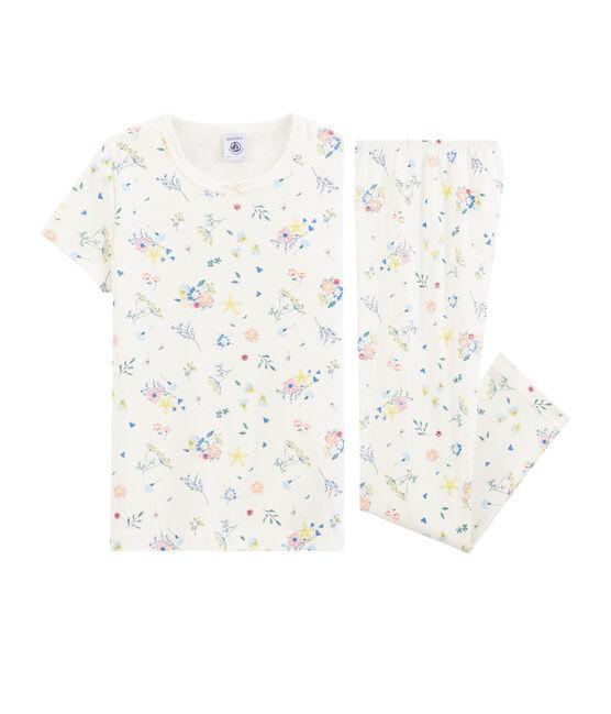 Rippstrick-Pyjama mit Blumen-Print für kleine Mädchen. weiss Marshmallow / weiss Multico