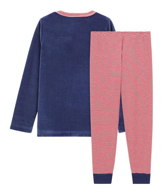 Velours-Pyjama für kleine Jungen blau Chaloupe / weiss Multico
