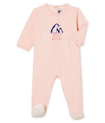 Baby-Strampler aus angerautem, extra warmem Bouclé-Frottier für Mädchen