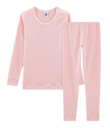 Sehr eng anliegender Rippstrick-Pyjama für kleine Mädchen rosa Charme / weiss Marshmallow