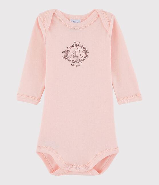 Langärmeliger Baby-Body Mädchen rosa Venus