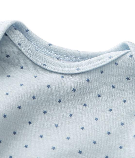 Kurzer Baby-Jungen-Einteiler aus Wolle/Baumwolle blau Fraicheur / grau Tempete