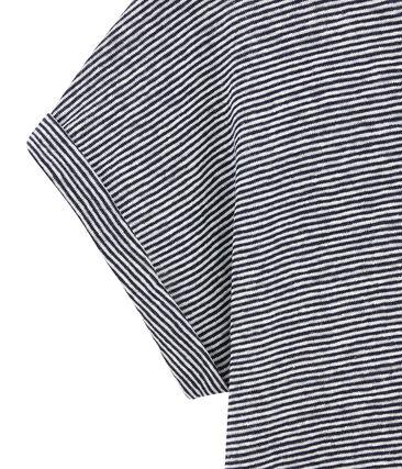 Damen-T-Shirt aus Leinen im Milleraies-Ringelmuster blau Smoking / weiss Lait