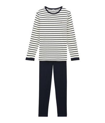 Samt-Pyjama für Jungen blau Smoking / beige Coquille