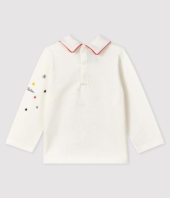 Baby-T-Shirt mit Polo-Kragen für Jungen weiss Marshmallow