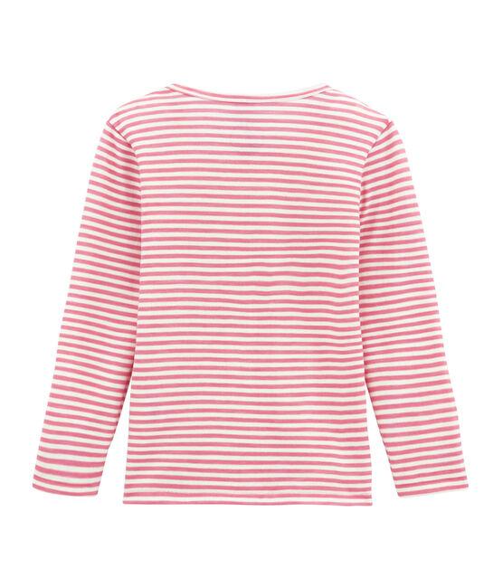 Mädchen Langarmshirt aus Woll/Baumwollgemisch. rosa Cheek / weiss Marshmallow