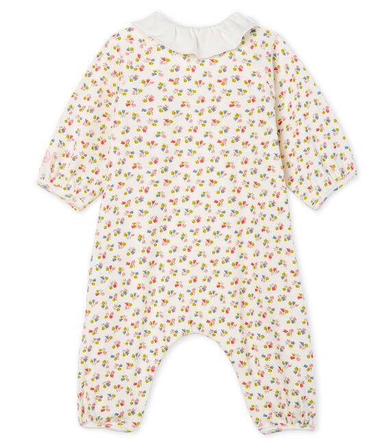 Langer Baby-Overall aus Rippstrick für Mädchen weiss Marshmallow / weiss Multico