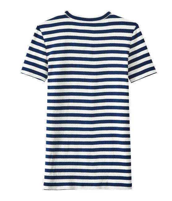 Gestreiftes Damen-T-Shirt aus Original-Rippstrick blau Medieval / weiss Marshmallow