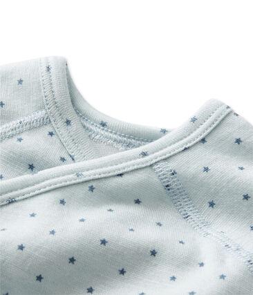 Langärmeliger Baby-Jungen-Body aus Wolle/Baumwolle für Neugeborene blau Fraicheur / grau Tempete