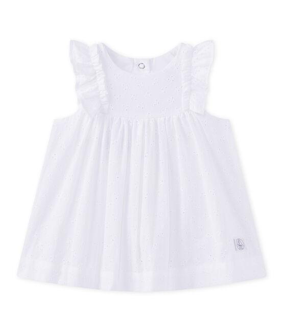 Besticktes Baby-Mädchen-Kleid weiss Ecume