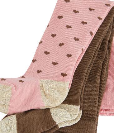 2er-Set Baby-Strumpfhosen für Mädchen rosa Charme / weiss Multico