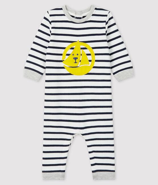Langer Baby-Overall für Jungen weiss Marshmallow / blau Smoking