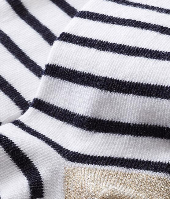 Klassische Baby MädchenStrumpfhosen weiss Marshmallow / blau Smoking