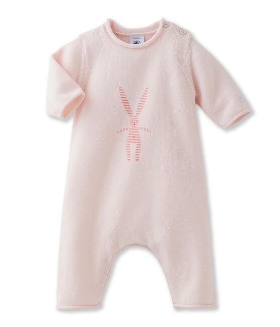 Langer Baby-Einteiler, Unisex, aus Baumwoll- und Wollstrick mit Häschen rosa Fleur
