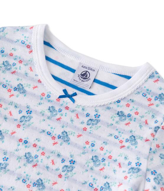 Wendbarer Mädchen-Schlafanzug aus gedoppeltem Jersey weiss Ecume / blau Bleu