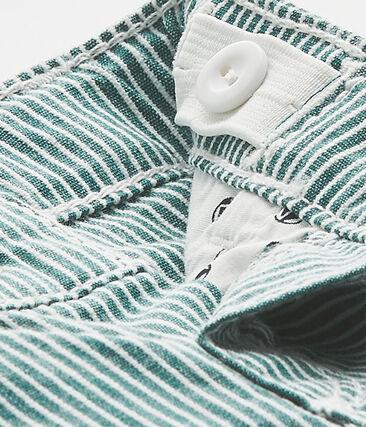 Gestreifte Baby-Jungen-Hose grün Olivier / weiss Marshmallow
