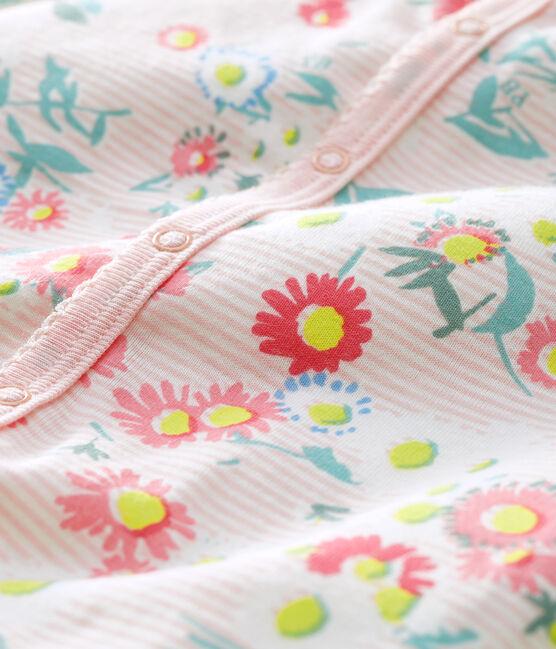 Baby-Kurzoverall mit rosafarbenem Milleraies-Streifenmuster für Mädchen weiss Marshmallow / weiss Multico