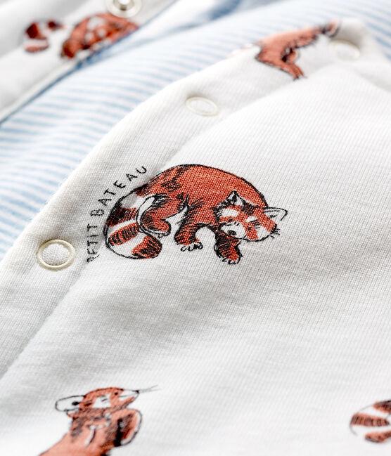 Ärmellose wendbare Baby-Jacke aus wattiertem Rippstrick für Jungen weiss Marshmallow / weiss Multico