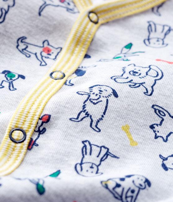 Baby-Strampler aus Rippstrick für Jungen grau Poussiere / weiss Multico