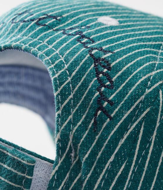 Gestreifte strick-baby-kappe jungen grün Olivier / weiss Marshmallow
