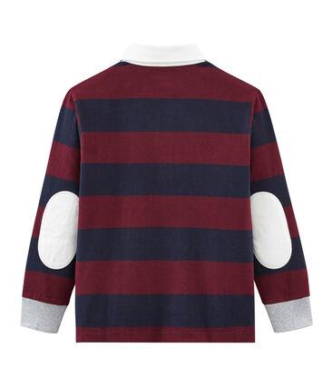 Gestreiftes langärmeliges Jungen• Polohemd blau Smoking / rot Ogre