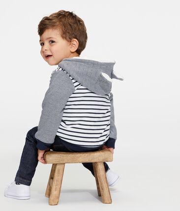 Baby-Kapuzensweatshirt für Jungen mit Streifen und Sherpafutter weiss Marshmallow / blau Smoking
