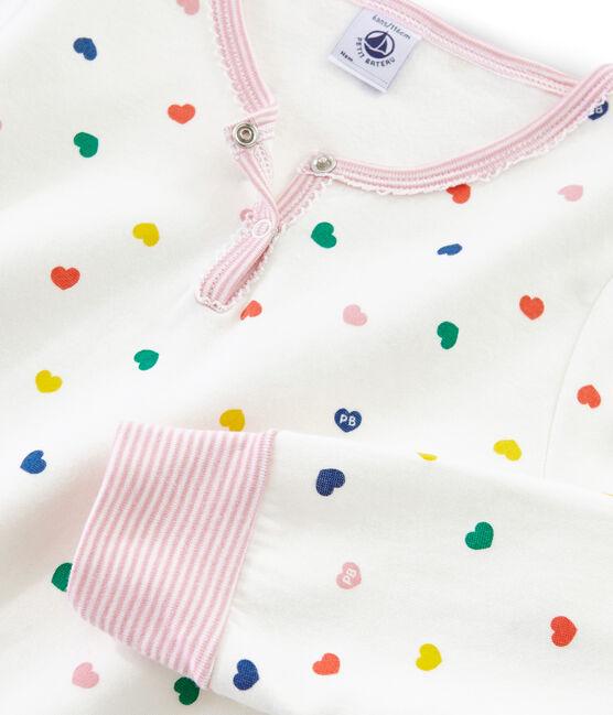 Pyjama mit hoch geschnittenem Bund aus Doubleface-Jersey für Mädchen weiss Marshmallow / weiss Multico