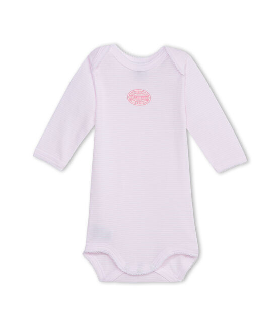 Baby-Body für Mädchen, Langarm, geringelt rosa Vienne / weiss Ecume