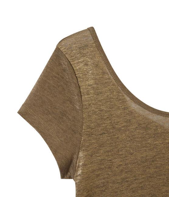 Damen-T-Shirt mit Wasserfall-Ausschnitt aus irisierendem Leinen braun Shitake / gelb Or