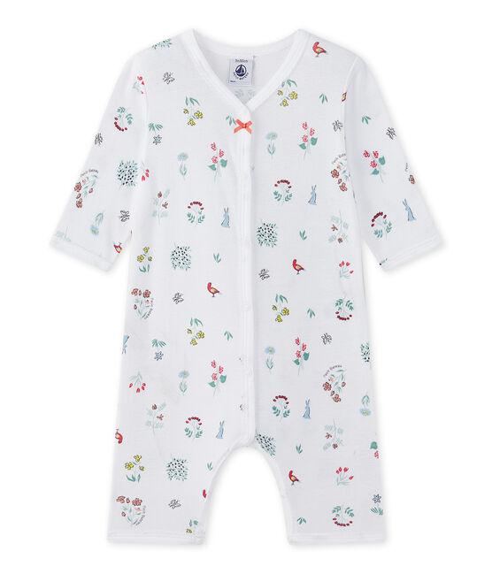 Bedruckter Baby-Mädchen-Strampler ohne Fuß weiss Ecume / weiss Multico