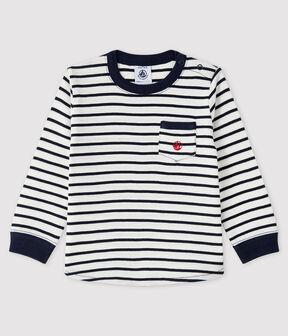 Baby-T-Shirt für Jungen weiss Marshmallow / blau Smoking