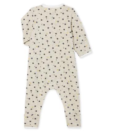 Langer Baby-Overall aus Wolle und Baumwolle beige Montelimar / weiss Multico