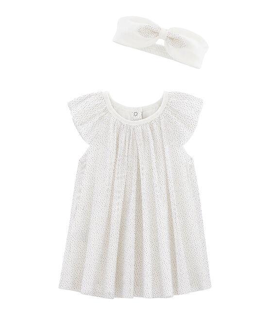 Kurzärmeliges Baby-Kleid mit Haarband, für Mädchen weiss Marshmallow / gelb Or