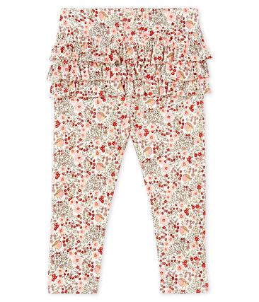 Gemusterte Baby-Legging mit Volants für Mädchen weiss Marshmallow / weiss Multico