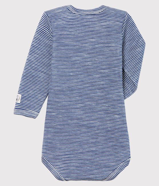 Langärmliger Baby-Body mit Streifen aus Wolle und Baumwolle blau Medieval / weiss Marshmallow
