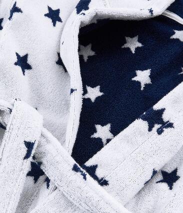 Frottee-Bademantel für kleine Jungen weiss Marshmallow / blau Medieval