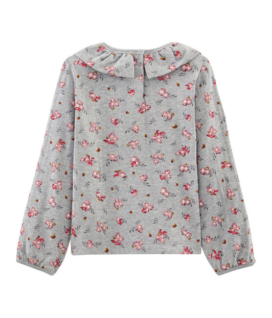 Langärmeliges Kinder-T-Shirt Mädchen grau Beluga / weiss Multico