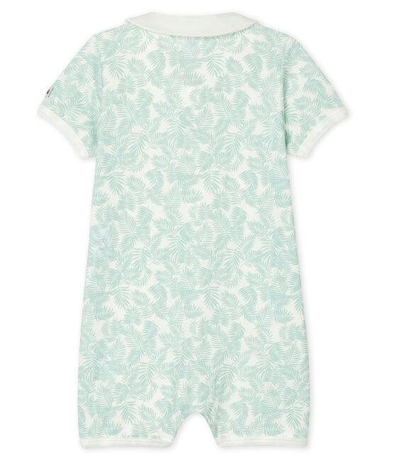 Baby-Kurzoveralls aus Rippstrick für Jungen weiss Marshmallow / blau Crystal