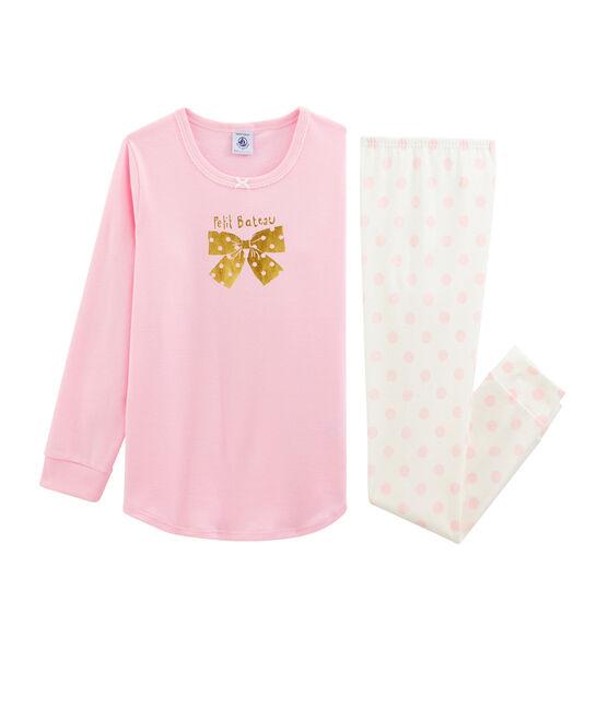 Rippstrick-Pyjama für Mädchen BONBEC/ECUME