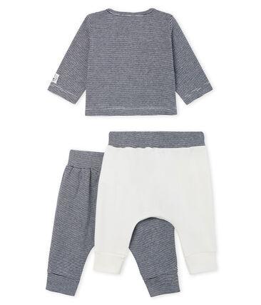 3-teiliges Baby-Set aus Rippstrick für Jungen weiss Marshmallow / blau Smoking