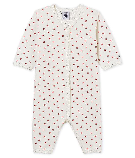 Baby Strampler aus gedoppeltem Jersey für Mädchen weiss Marshmallow / rot Terkuit