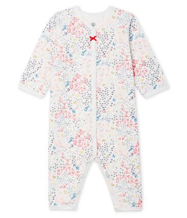 Baby-Strampler ohne Fuß aus Doppeljersey für Mädchen weiss Marshmallow / weiss Multico