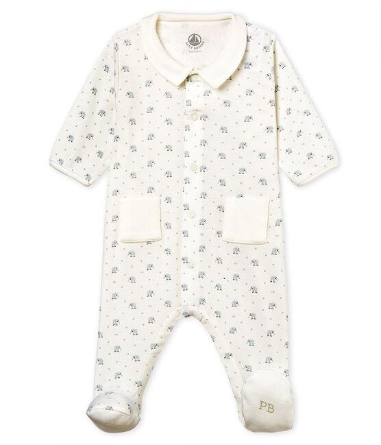 Gemusterter baby-strampler jungen 1x1-gerippt weiss Marshmallow / weiss Multico