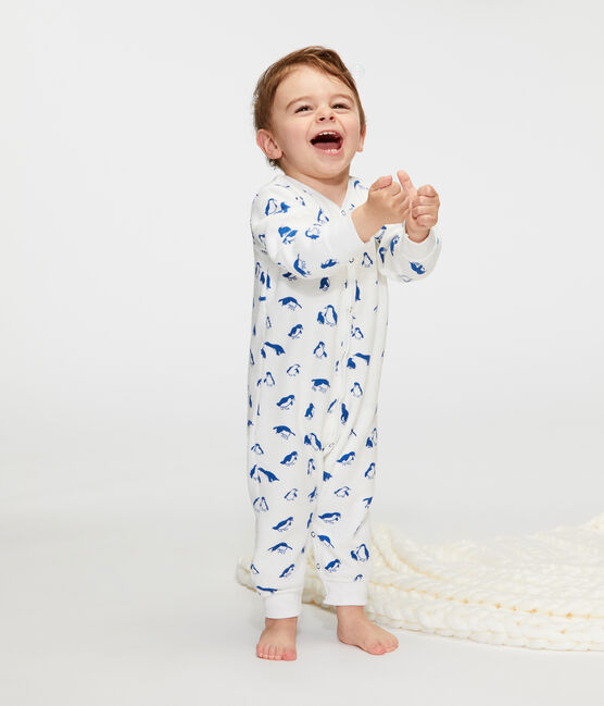 Baby-Nacht-Ensemble aus extra warmem, angerautem Bouclé-Frottier weiss Marshmallow / blau Major