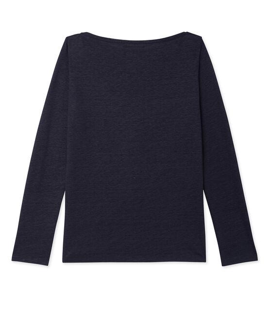 Damen-Langarmshirt aus beschichtetem Leinen blau Smoking / blau Brillant